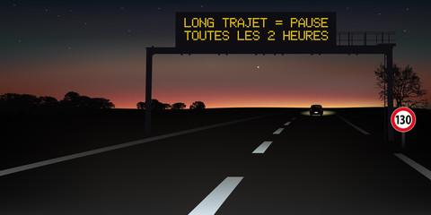 autoroute - signalisation routière - panneau - sommeil - sécurité routière