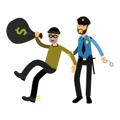 Police officer character arresting robber vector Illustration