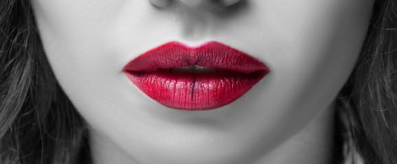 Closeup view of beautiful woman lips Wall mural