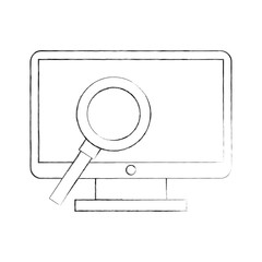 computer desktop with magnifying glass vector illustration design