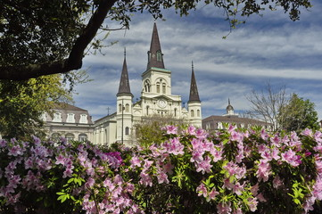 St. Louis Cathedral on Jackson Square in New Orleans, USA Fotomurales