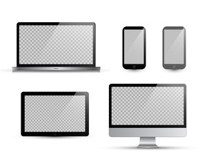Realistic laptop, tablet, smartphone, computer. Vector illustration. White background. Vector mock up. Isolated on white.