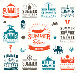 Summer labels, logos, tags and elements set for summer holiday, travel, beach party, vacation. Vector