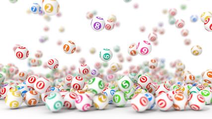 3d illustration of lottery balls stack.