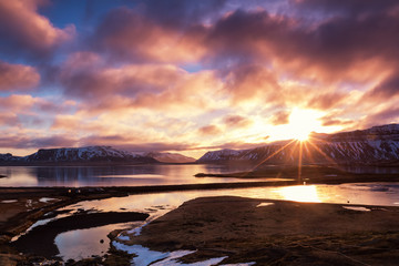 Colorful sunrise near Grundarfjordur town, Iceland