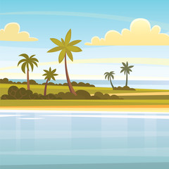 Summer tropical background with palms, sky and sunset. beach landscape