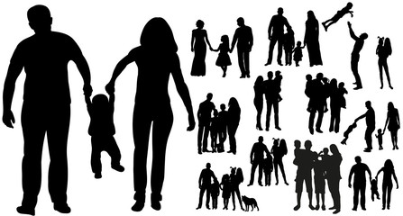 Vector, isolated silhouette family, collection silhouettes mom dad and child