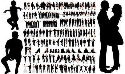 silhouette of people, male female children, set