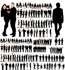 isolated silhouette of people, male female children, set