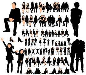 Vector, isolated silhouette of people, male female children, set