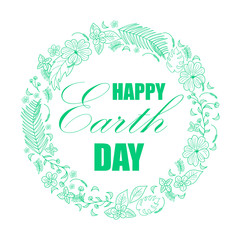 Happy Earth Day background. illustration with floral and tropical frame for greeting card, poster.