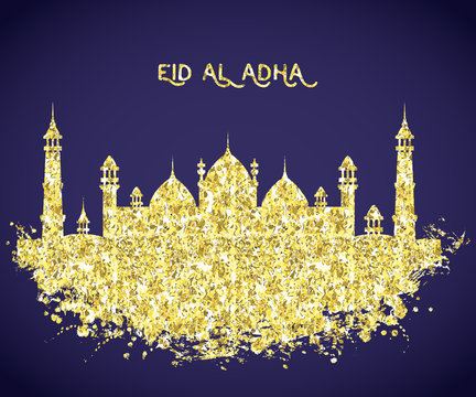 Mosque building with golden glitter foil texture . Greeting card for traditional muslim festival eid al adha. Vector illustration