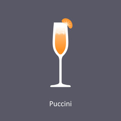 Puccini cocktail icon on dark background in flat style