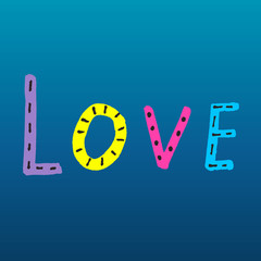 Word LOVE from colorful letters on blue gradient background
