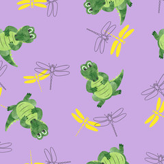 Seamless pattern with cartoon crocodiles and dragonflies. Vector background for kids.