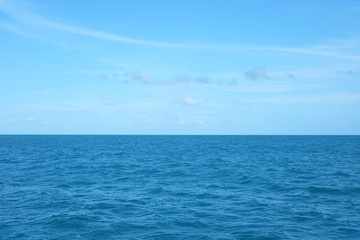 Image of blue sea with blue sky. The Gulf of Thailand.