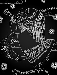 Illustration with a christmas angel in the style of a chalkboard.
