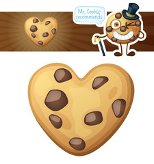 Choc chip heart cookies illustration. Cartoon vector icon isolated on white background. Series of food and drink and ingredients for cooking.