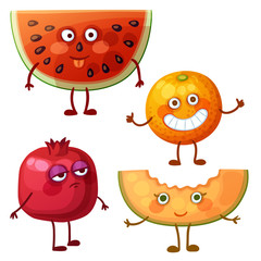 Funny fruit characters isolated on white background. Cheerful food emoji. Cartoon vector illustration: fool watermelon slice, cheerful orange, calm pomegranate, sweet melon
