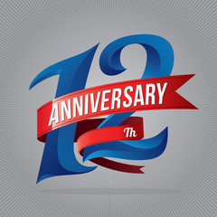 12 years anniversary celebration logotype. 12th anniversary logo with gray background