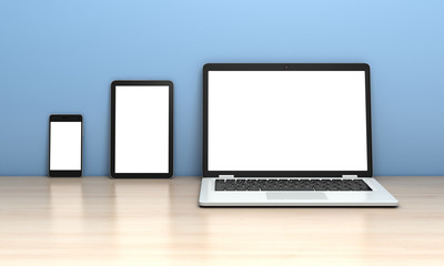Laptop, tablet and smartphone on the desk on a blue background. 3d rendering.