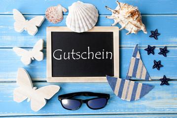 Blackboard With Maritime Decoration, Gutschein Means Voucher