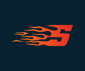 Letter S flame Logo. speed logo design concept template