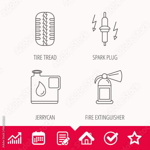 Wheel, fire extinguisher and spark plug icons  Fuel jerrycan