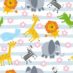 cartoon positive seamless pattern with cute girls