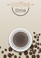 Coffee time design poster with brown background.