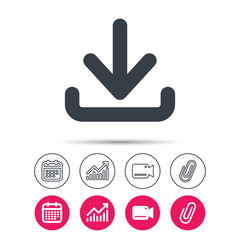 Download icon. Load internet data symbol. Statistics chart, calendar and video camera signs. Attachment clip web icons. Vector