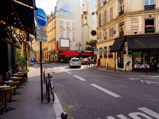 Cozy street with cafe in Paris, France