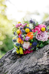 Wedding bouquet on wood