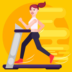 The woman is running on the treadmill. Speed.