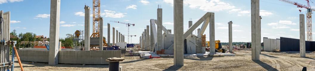 panoramique bâtiment chantier poteau béton