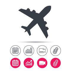 Plane icon. Flight transport symbol. Statistics chart, calendar and video camera signs. Attachment clip web icons. Vector