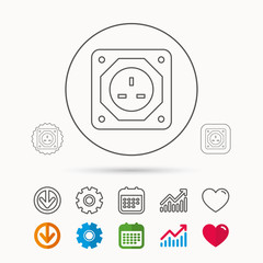 UK socket icon. Electricity power adapter sign. Calendar, Graph chart and Cogwheel signs. Download and Heart love linear web icons. Vector