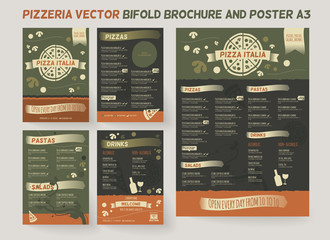 Pizzeria menu brochure template. Vector brochure design, modern cover layout for posters and flyers. Professional design with hand-drawn elements for bifold brochure to pizza restaurant price list.