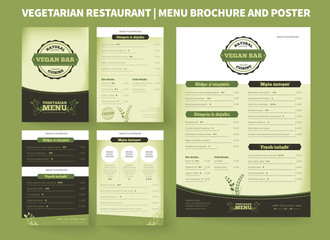 Restaurant menu brochure template. Vector design, modern cover layout for posters and flyers. Professional design with hand-drawn elements for bifold brochure to vegetarian restaurant price list.