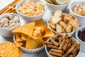Acrylic Prints Buffet, Bar Salty beer snacks in whit bowls