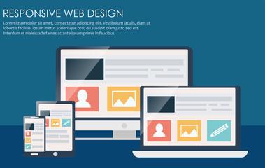 Responsive web design, including laptop, desktop, tablet and mobile phone.