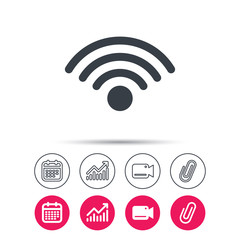 Wifi icon. Wireless internet sign. Communication technology symbol. Statistics chart, calendar and video camera signs. Attachment clip web icons. Vector