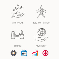 Save nature, planet and factory icons. Electricity station linear sign. Calendar, Graph chart and Cogwheel signs. Download colored web icon. Vector