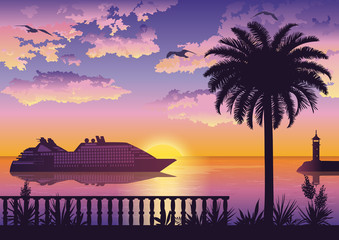 Tropical Landscape, View From the Shore with Fencing, Palm Tree and Plants, Ships and a Lighthouse in the Sea and Seagulls in the Sky with Sun and Clouds. Eps10, Contains Transparencies. Vector