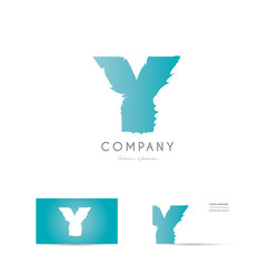 Y blue letter alphabet logo vector icon design