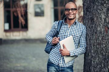 Male student near university