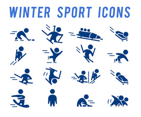 Vector simple winter sport icons isolated