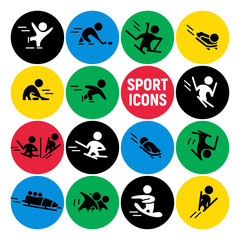Vector flat simple winter sports athlete icons, human figures on round colored backdrops.