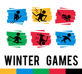 Vector flat simple winter sport icons isolated