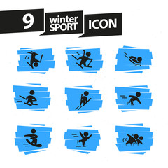 Vector flat winter sports human icons set isolated